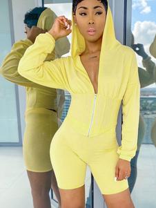 Duas peças define roupa estilo espartilho com capuz para mulheres