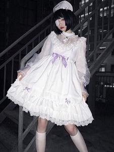 ホワイトロリータOPドレスゴシックフリルボウクロス長袖ロリータワンピースドレス