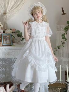 الحلو لوليتا JSK اللباس الأبيض الكشكشة لوليتا البلوز تنورة
