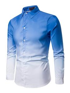Мужская рубашка Ombre отложным воротником синие повседневные рубашки