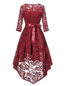 Кружева платья Burgundy Jewel шеи Половина рукава Высокий Низкий дизайн Узелок Повседневные платья