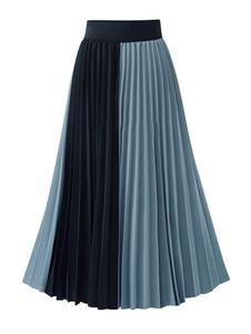تنورة للنساء المشمش مطوي نغمتين الشيفون منتصف الساق طول أثارت الخصر ماكسي الخريف والشتاء المرأة القيعان