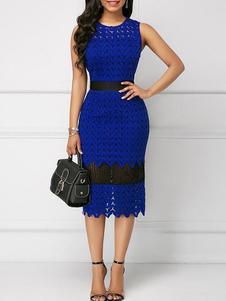 Bodycon Vestidos Floral Blue Print Jewel Neck Cut Out Sexy Vestido justo