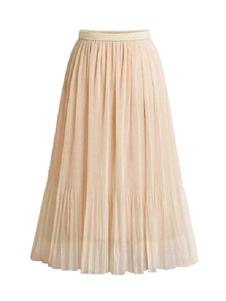 تنورة للنساء المشمش مطوي الشيفون منتصف الساق طول أثارت الخصر ماكسي المرأة القيعان