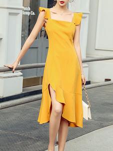 Verão Vestido Praça Neck Ruffles Layered laranja na altura do joelho vestido de Praia