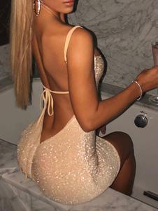 Clube vestido damasco tiras sem mangas sem encosto vestido sexy