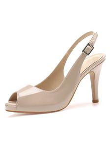 Peep Toe Tacones altos Tacón de aguja Detalles metálicos Zapatos con tirantes sexys para mujer