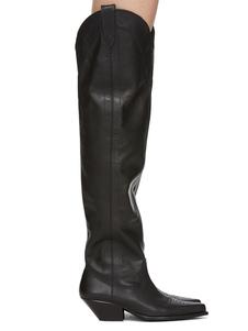 Stivali al ginocchio Punta rotonda nera Opera tacco grosso Pelle di maiale Pelle bovina Stivali da donna