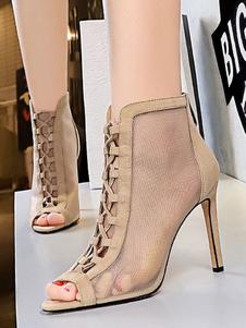 أحذية الصيف المشمش جولة اصبع القدم كعب قابل للتعديل حزام الصيف الأحذية