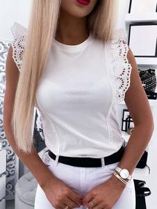 Tees sem mangas Babados de renda branca Jewel Neck Cotton Blend Women T Shirt