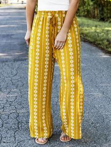 Pantalones Boho Pantalones estampados tribales amarillos
