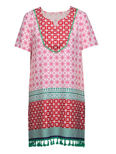 فستان صيفي Dashiki بأكمام قصيرة وطبعة أفريقية مطبوعة