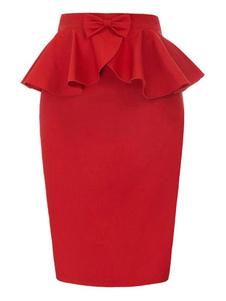 Peplum Bodycon Skirt Falda midi con volantes y lazo rojo para mujer