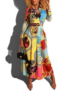 Dashiki ماكسي فساتين قميص طويل الأكمام فستان القبلية طباعة اللباس الأفريقي