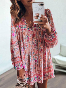فستان صيفي بوهو طباعة الأزهار شرابة طويلة الأكمام فستان التحول