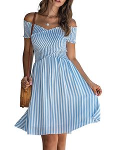 فستان صيفي مخطط قبالة فستان الشاطئ الكتف