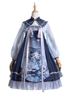 Estilo chino Lolita JSK Dress Unicorn Bows Lolita Jumper Faldas