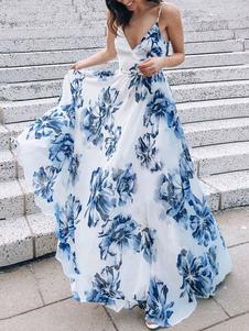 Vestidos Maxi Sem mangas Branco Floral Estampado Decote em V Renda Sem Encosto Poliéster Vestido Longo