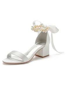 Ivory Wedding Shoes Satin Open Toe Pearls Bows Chunky Heel Bridal Shoes Block Heel Bridesmaid Shoes