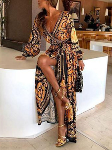 Boho Maxi Dresses Long Sleeves Printed V-Neck Slit Long Dress For Women