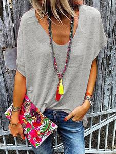 Camiseta de manga corta con cuello en V camisetas de gran tamaño para mujeres