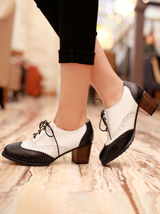 Women Oxfords Black Classic Round Toe Leather Lace Up Block Heel Oxford Shoes