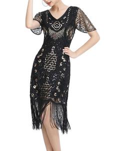 レトロなドレス1950年代Vネック半袖女性のロカビリードレス