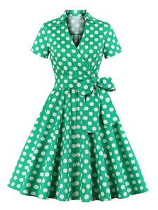 ヴィンテージドレス1950 Vネックレースアップレイヤード半袖グリーン膝丈ポルカドット弓フィット感とフレアドレス