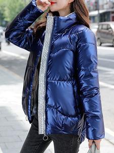 Casacos infláveis femininos casaco azul com gola longa acolchoada de inverno