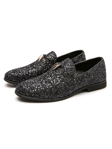 Mens Loafer Shoes Black Glitter Slip-On Round Toe Dress Shoes
