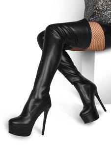 Over The Knee Boots Leather Black Round Toe Platform Thigh High Boots