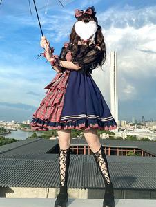 アイドル宣言ロリータJSKワンピースツートンチェックのロリータジャンパースカート