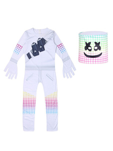 Fortnite Battle Royale Marshmellow Jumpsuit Cosplay Costumes Halloween With Headwear