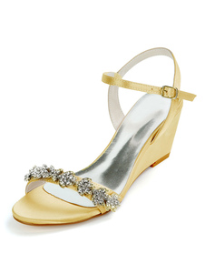 Ivory Wedding Shoes Satin Rhinestones Open Toe Wedge Heel Bridal Shoes