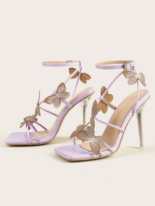 Lilac Ankle Strap Heels Peep Toe Butterfly Sexy Stiletto Heel Sandals for Women