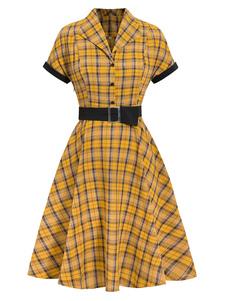 女性のレトロなドレス1950年代の赤い格子縞の半袖Vネックコットンヴィンテージミディアムワンピースドレス