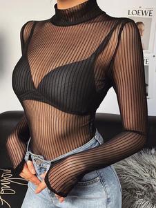 女性のための女性の長袖ボディスーツブラックホルターポリエステルトップ