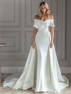 Robe De Mariée Col Bateau Robe Sirène Avec Traîne Séparée Robe Rétro Simple Robe De Mariage 2021