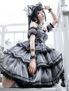 ゴシックロリータジャンパースカート グレーブラック 十字架 暗い系 アイドル 演出服 袖カバー付き 撮影 クラシカルロリ