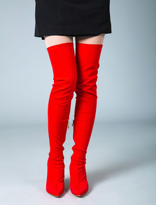Thigh High Boots Womens Elastic Fabric Pointed Toe Stiletto Heel Over The Knee Boots