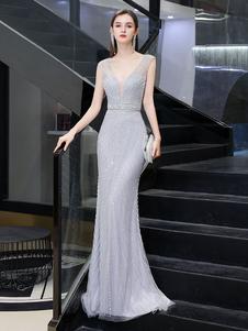 Vestidos de noche Sirena Escote en V Sin mangas Hasta el suelo Vestido de cena formal