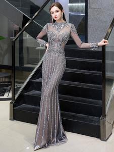 Вечерние платья Русалка Jewel с длинным рукавом длиной до пола, вечернее платье