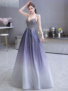 Prom Dress A Line Cinghie a cuore Senza maniche Metallico Sfumato Colore Lunghezza del pavimento Abiti da cerimonia convenzionali
