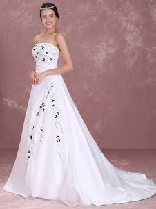 الروكوكو الأبيض حمالة ألف خط الساتان الدانتيل فستان الزفاف