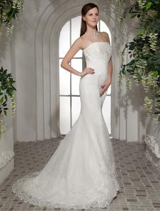 Abito da sposa avorio elegante & lussuoso in raso fiore senza spalline di Lacci