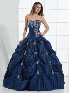 Vestido de novia azul satinado rebordear vestido de novia sin tirantes de la vendimia palabra de longitud
