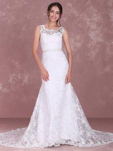 أنيقة الدانتيل الأبيض جوهرة الرقبة الدانتيل ألف خط فستان الزفاف الزفاف
