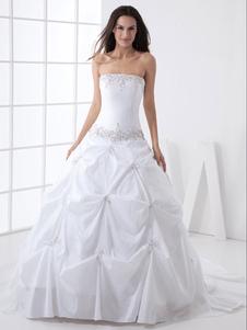 Abito da sposa bianco taffeta senza spalline vestito da ballo strascico a cappella