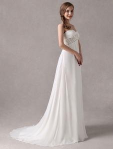 Marfim romântico Bainha Sweetheart cintura império Strapless Beading Vestido de Noiva Chiffon