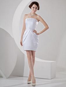 Vestido de noiva Sem alças Mini Franzido Tecido de Cetim